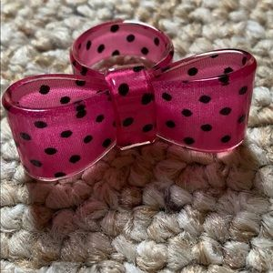 Pink Polka Dot Bow Ring Size 7
